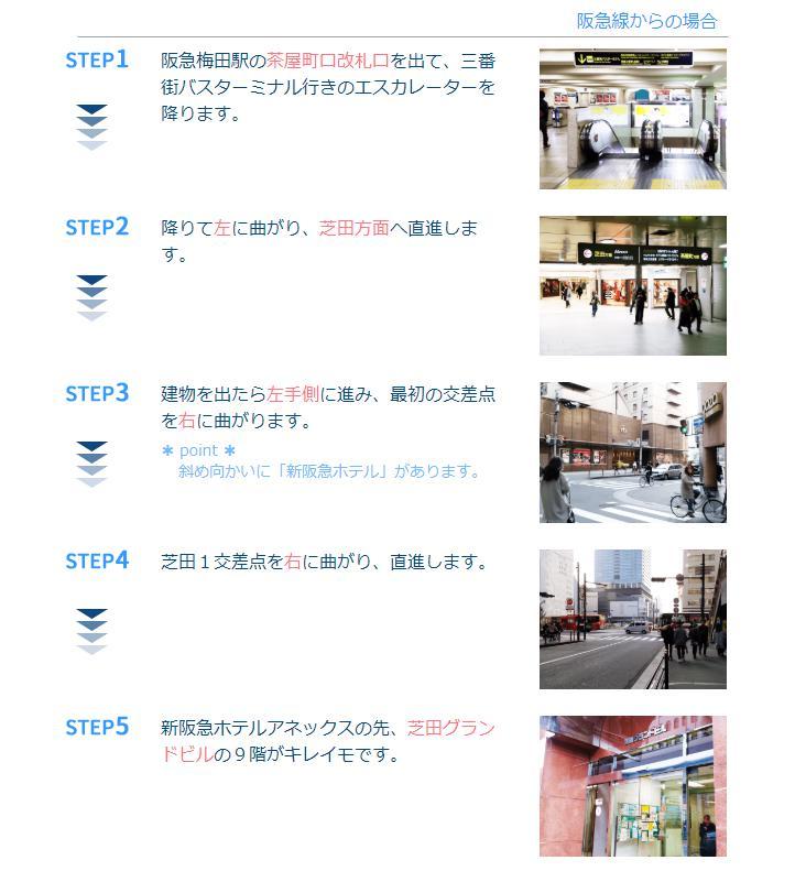 キレイモ(KIREIMO)阪急梅田駅からのルート